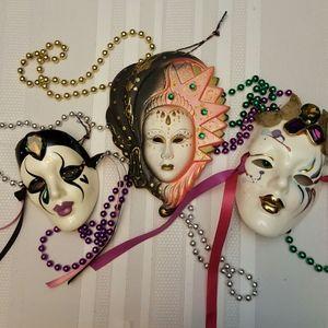 Other - Vintage Mardi Gras Mask Decor Trio